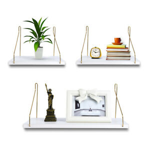 Gold and White Floating Shelves Wall Storage Wall Mounted Organizer (Set of 3)