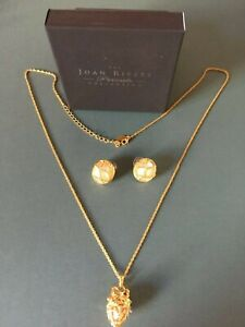 Joan Rivers Gold and White Egg Pendant/Locket and matching pierced earrings