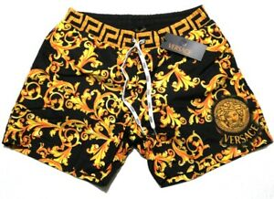 NEW MENS VERSACE BLACK SWIM SHORTS