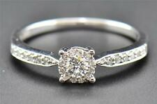 Diamond Engagement Ring Ladies Round Cut Promise Solitaire 10K White Gold .26 Ct