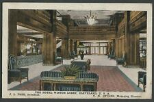Cleveland OH: c.1921 Postcard HOTEL WINTON LOBBY, J.L. Free, President