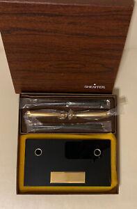 Sheaffer Vintage J-14 Double Ball Pen Medium Desk Set Black/ Gold Tone