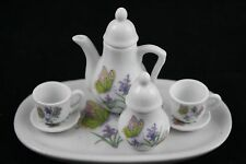 Royal Norfolk Mini Tea Set Tray Cups Saucers Sugar Tea Pot Butterflies