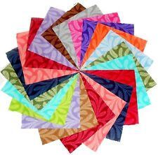 "30 5"" Quilting Fabric Squares Bright ""Flowy"" Tonals  !!!"