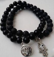 "OM Hamsa Evil Eye 2pc Obsidian & Lava Stretch Beaded Bracelet sz 7.5"""