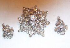 Fabulous Kramer Large Brooch, Earrings Clear Rhinestone