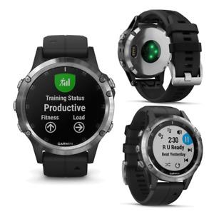 Garmin 5 Plus Silver Black Band Smart GPS Running Swimming Cycling Sports Watch