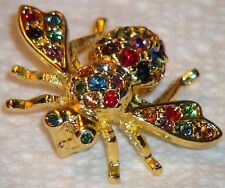 Joan Rivers Bee Pin Brooch Gold Emerald Ruby Amethyst Sapphire Topaz Citrine A+
