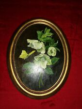 "Vintage hand painted Flowers = oval framed = 8.5"" x 11"""