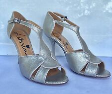 Lanvin High Heel Strappy Sandal Champagne Silver Size 39 $995