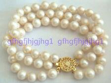 Beautiful 3 Rows 7-8mm White South Sea Pearl Bracelet 7.5''
