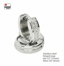 Men's Hip Hop Punk Stainless Steel Huggie Hoop Hinged Snap Earrings SSHE 025 S