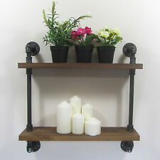 Rustic Industrial Urban Retro Iron Pipes 2 Tiers Natural Wood Shelf Shelves