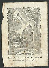 Holy card grabado antique de Santa Catalina Tomas santino image pieuse estampa