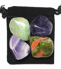 VISUALIZATION Tumbled Crystal Healing Set  = 4 Stones + Pouch + Description Card