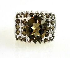 Natural Smokey Topaz 14MM Wide Ring  925 SS Sterling Silver