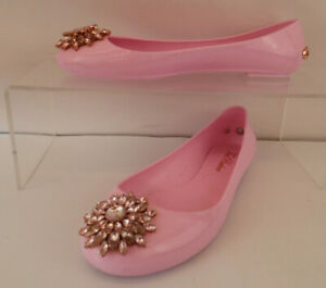 Ted Baker Pink Jelly Rhinestone Size 6 Flat Shoes Gold Logo to Heel