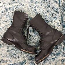 DOUBLE H Jump Boots size Mens 7D black leather lace up Military Combat Cap Toe