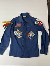 VINTAGE Boy Scouts B.S.A. Long Sleeve blue YOUTH uniform shirt Patches Webelos