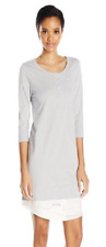 Hue Layered-Look Henley Sleepshirt, Sterling Gray, Size S,L, MSRP $48