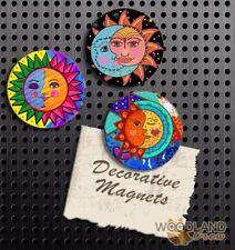 Sun and Moon Magnets, Set of 3 Handmade Fridge Magnets, Decorate School Locker