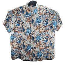Margaritaville Men's XL Floral Print Hawaiian Button Up Camp Shirt SS Silk Linen
