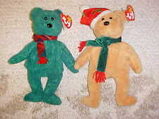 7fc7aed1cb5 LOT of 2 TY BEANIE BABY CHRISTMAS BEARS with TAGS MINT HOLIDAY~WALLACE    TEDDY