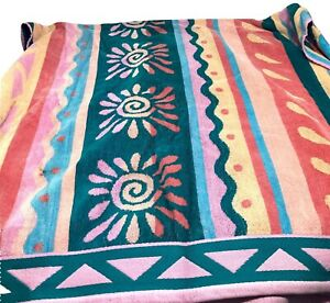 "Bath Towel 56""x31""  Vintage Retro Mid Century Pink Multicolor Soft"