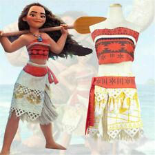 Adult/Kids Cosplay Hawaiian Moana Costume Princess Skirt Fancy Dress + Necklace