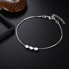 "Fashion Accessories Chains Anklets Bracelet 10"" Sexy 925 Silver 3 Beans Women"