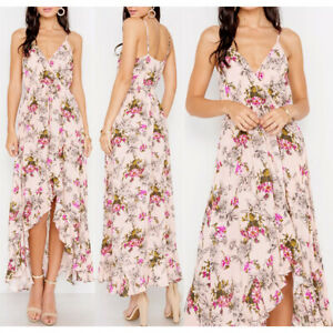 NEW Nude Pink Floral Surplice V-Neck Ruffle Asymmetric High Low Skirt Maxi Dress
