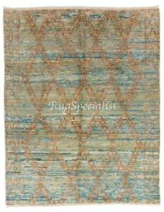 Contemporary Moroccan Berber Wool Rug in Light Blue and Rust Color