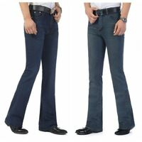 Men Flared Jeans Fitted Bell Bottom Denim Trousers Long Pants Retro Over Size