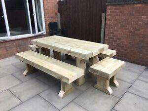 Rustic Sleepers  Solid  Sleeper Outside Table And Benches /Garden Furniture