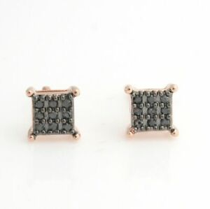 Sterling Silver 18K Rose Gold Black Diamond Stud Earrings With Screw Back