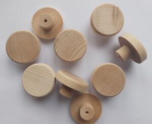 BEECH Solid Wood Unfinished Wooden KNOBS 35mm handle drawer cupboard furniture