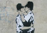 BANKSY KISSING COPPERS ART PRINT POSTER