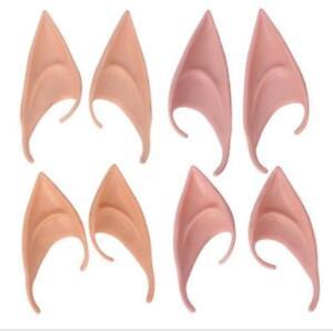 Elf Pointed Ears Rubber Latex Prosthetic Tips Angel Fairy Pixie Goblin Hobbit UK