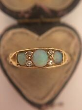 Stunning Antique 18k 18ct Yellow Gold Opal And Diamond Ring Band 3 Stone