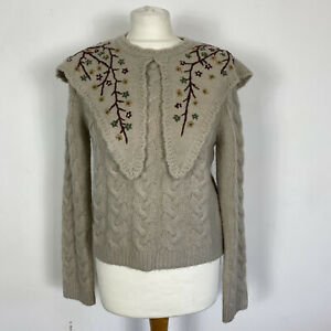Zara Beige Cable Collared Cottagecore Embroidered Floral Jumper Size M - 10/12UK
