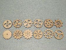 "12 Custom Laser Cut 2"" Wood Wooden Gears Gear COG Steampunk Wall Art Decor"