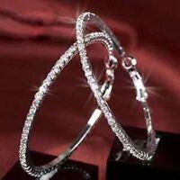 Women Silver Plated Diamante Crystal Rhinestone Hoop Round Earring Jewelry