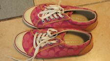 Coach lace up women shoes size 7.5 B canvas pink with famous logo