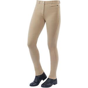 Dublin Supa Fit Zip Up Knee Patch Womens Pants Jodhpurs - Beige All Sizes