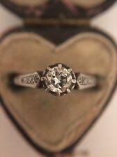 Antique Stunning 18ct White Gold Platinum Diamond Solitaire Band Ring Pretty