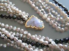 Vintage Japan nature color Biwa Pearl necklace 14k Lavender Jade goldish clasp
