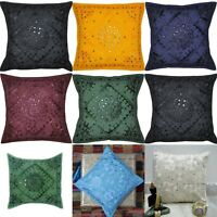 """Home Decor Embroidered 16"""" Cushion Cover mirror Pillow Case  Indian Handmade Art"""