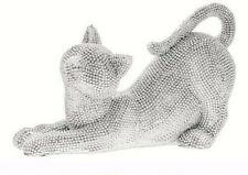 LEONARDO 2 Silver Art Cat Ornaments Figurines Sparkly Glitzy Decorative LP44605