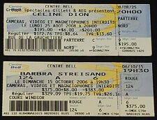 2006 BARBRA STREISAND + 2008 CELINE DION - BELL CENTER, MONTREAL - TICKETS (2)
