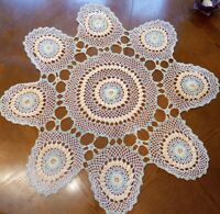 """VINTAGE Cream/Green/Yellow HAND CROCHETED COTTON LARGE DOILY/TABLE MAT 28"""" x 28"""""""